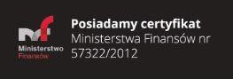 Certyfikat Ministerstwa Finans�w